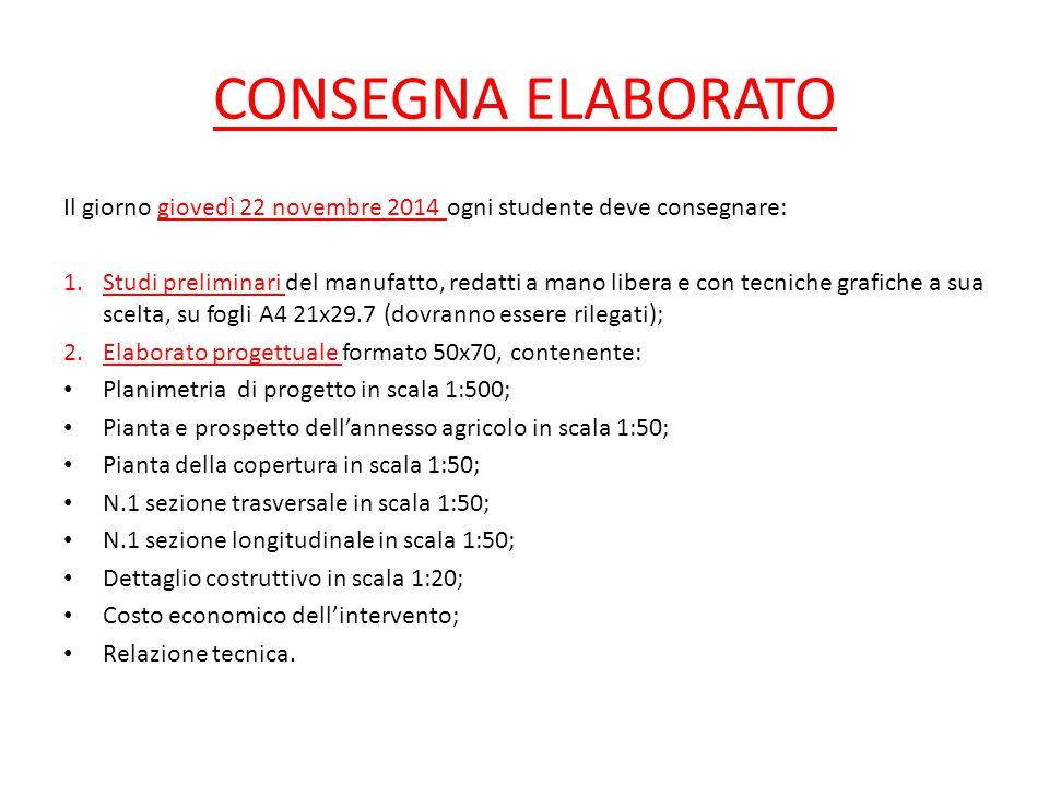 CONSEGNA ELABORATO Il giorno giovedì 22 novembre 2014 ogni studente deve consegnare: