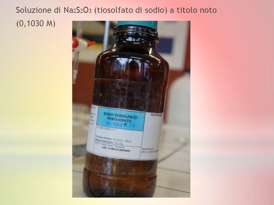 Soluzione di Na2S2O3 (tiosolfato di sodio) a titolo noto (0,1030 M)