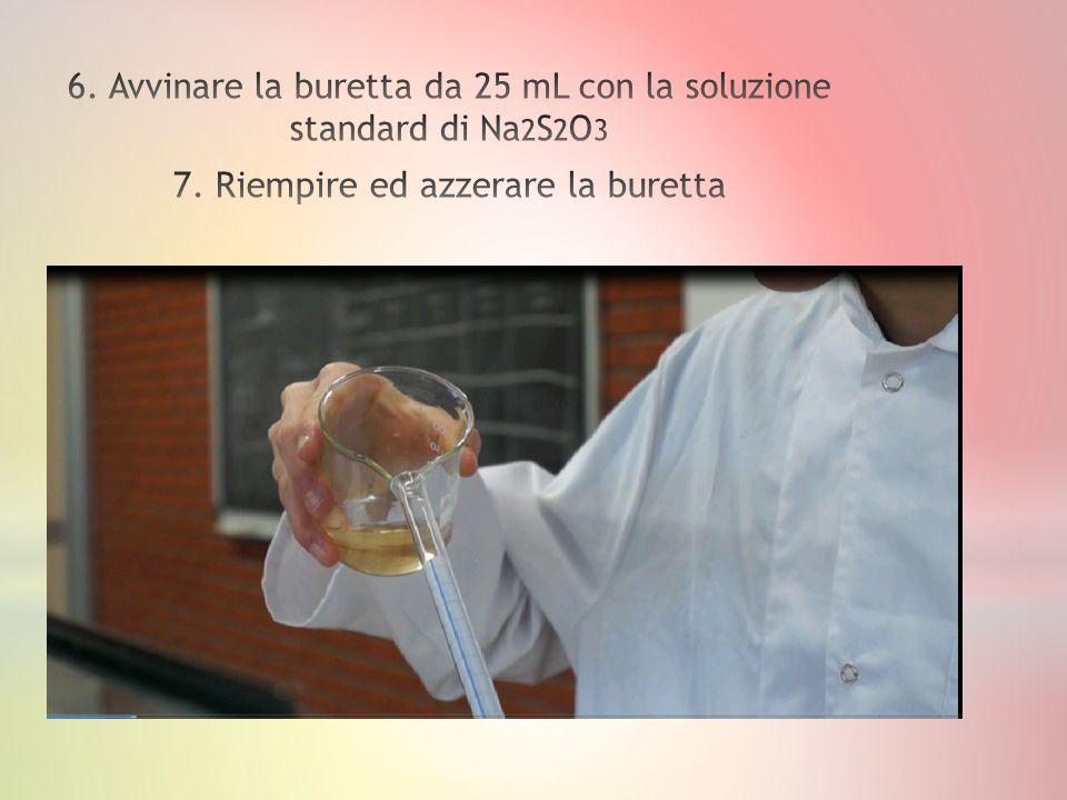 6. Avvinare la buretta da 25 mL con la soluzione standard di Na2S2O3