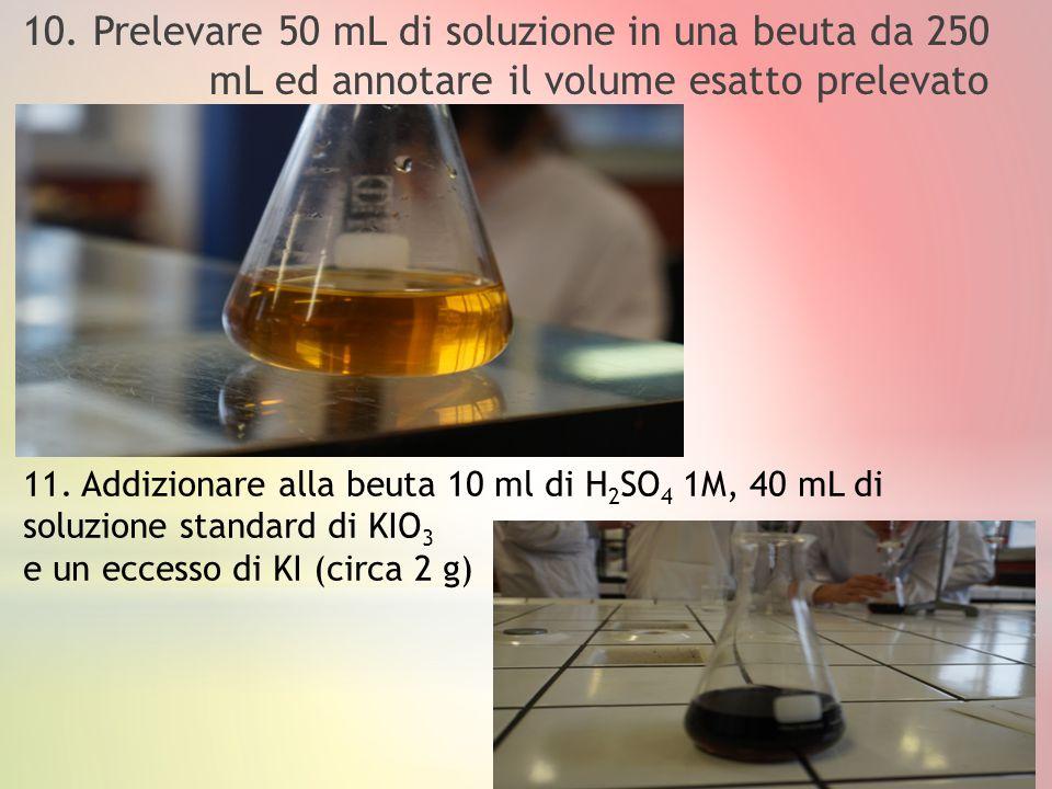 10. Prelevare 50 mL di soluzione in una beuta da 250 mL ed annotare il volume esatto prelevato