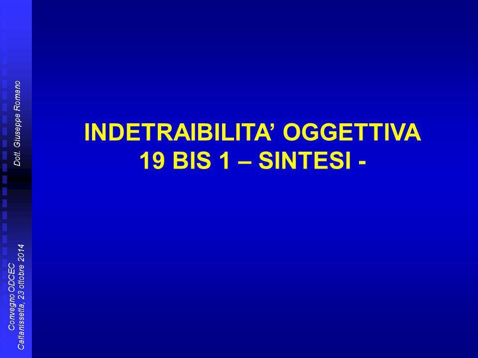 INDETRAIBILITA' OGGETTIVA