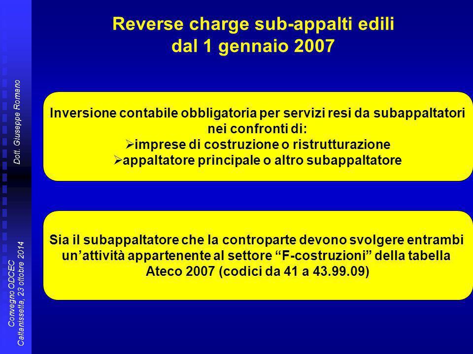 Reverse charge sub-appalti edili dal 1 gennaio 2007