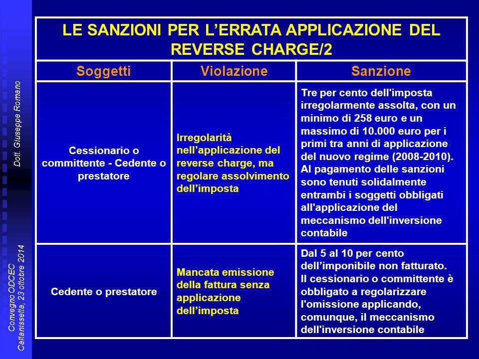 LE SANZIONI PER L'ERRATA APPLICAZIONE DEL REVERSE CHARGE/2