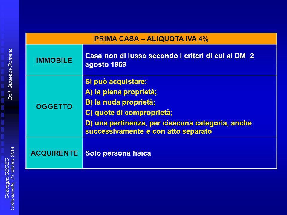 PRIMA CASA – ALIQUOTA IVA 4%