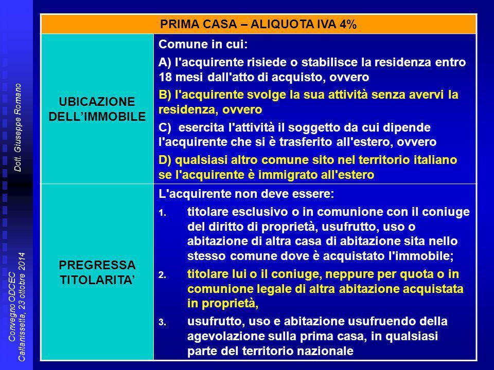 PRIMA CASA – ALIQUOTA IVA 4% UBICAZIONE DELL'IMMOBILE Comune in cui: