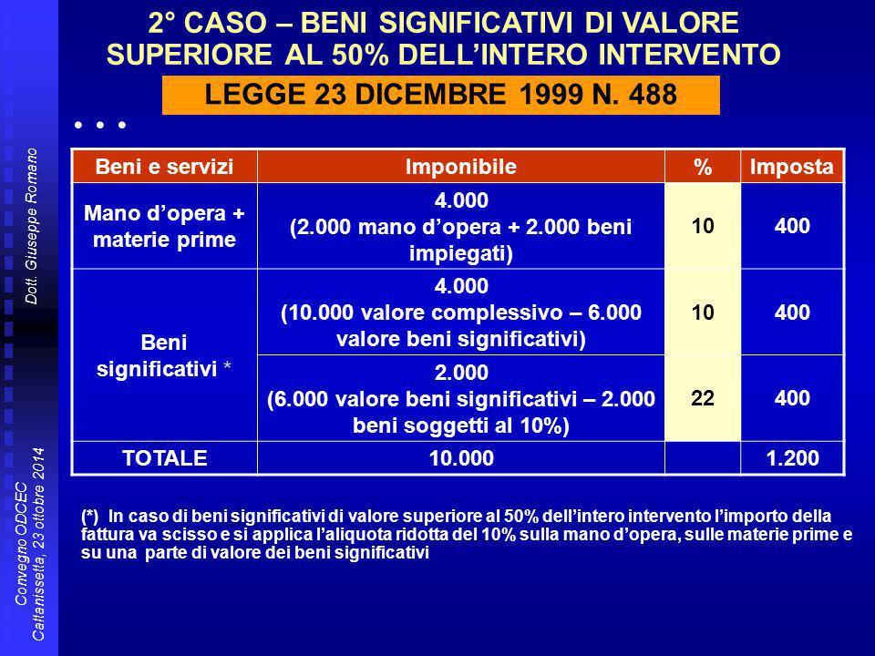 2° CASO – BENI SIGNIFICATIVI DI VALORE SUPERIORE AL 50% DELL'INTERO INTERVENTO