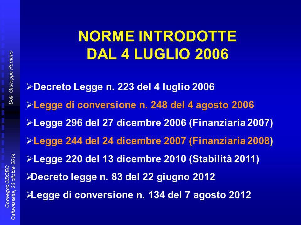 NORME INTRODOTTE DAL 4 LUGLIO 2006