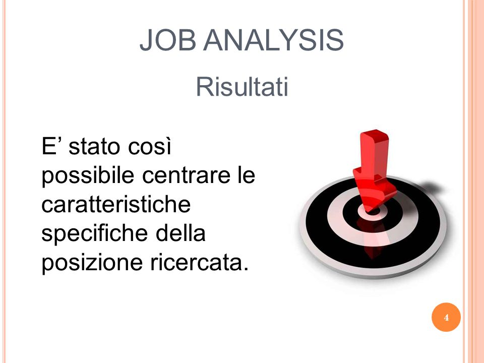 JOB ANALYSIS Risultati