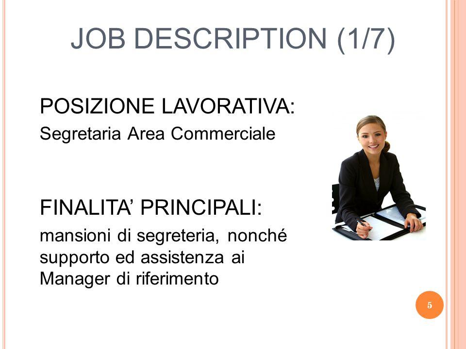 JOB DESCRIPTION (1/7) POSIZIONE LAVORATIVA: FINALITA' PRINCIPALI: