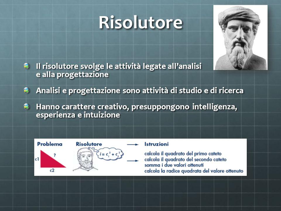 Risolutore Il risolutore svolge le attività legate all'analisi e alla progettazione. Analisi e progettazione sono attività di studio e di ricerca.
