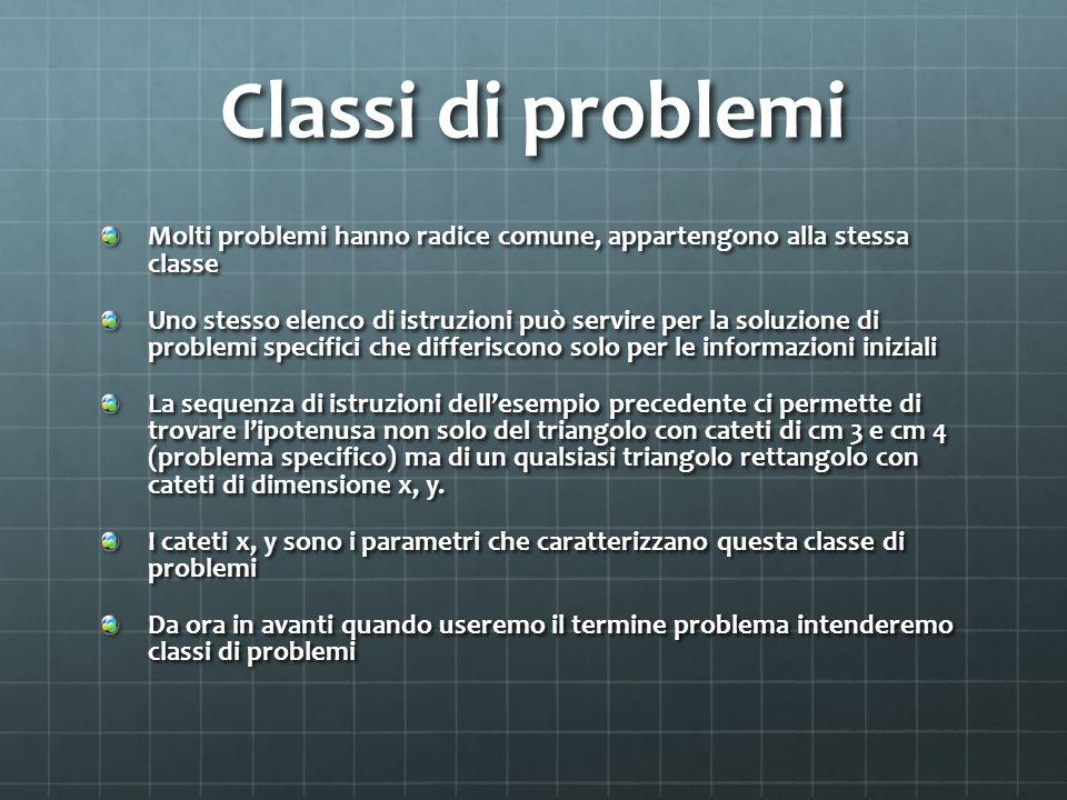 Classi di problemi Molti problemi hanno radice comune, appartengono alla stessa classe.