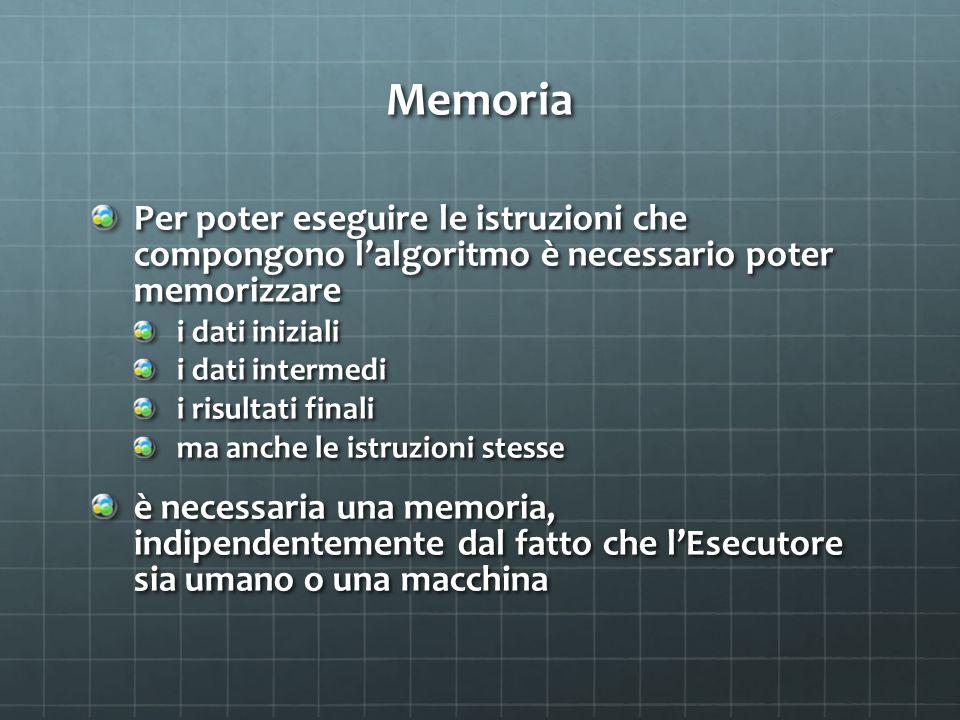 Memoria Per poter eseguire le istruzioni che compongono l'algoritmo è necessario poter memorizzare.