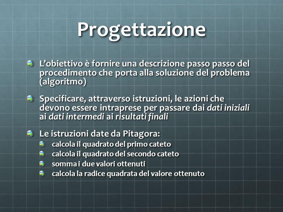 Progettazione L'obiettivo è fornire una descrizione passo passo del procedimento che porta alla soluzione del problema (algoritmo)