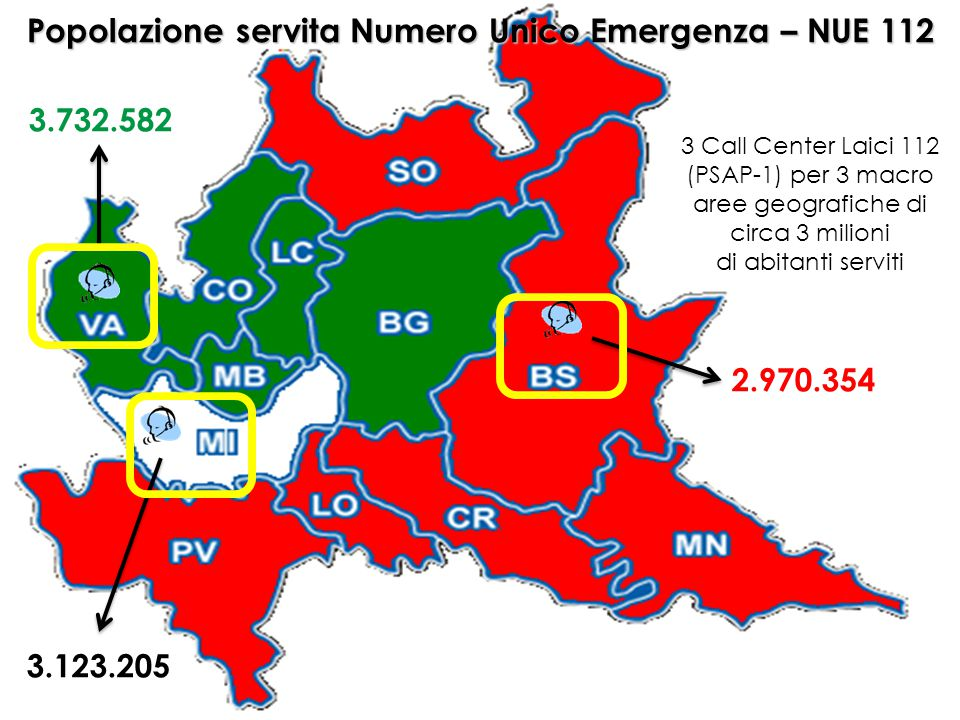 Popolazione servita Numero Unico Emergenza – NUE 112