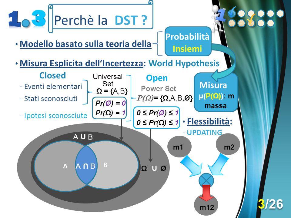 Perchè la DST 3/26 Probabilità Insiemi World Hypothesis Closed Open