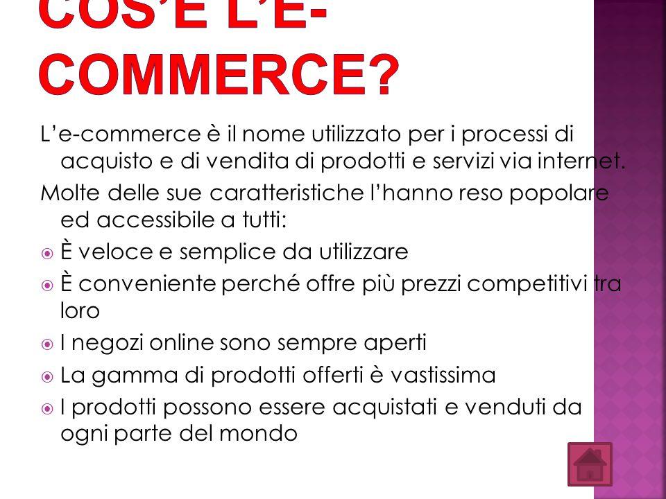 Cos'è l'E-commerce L'e-commerce è il nome utilizzato per i processi di acquisto e di vendita di prodotti e servizi via internet.