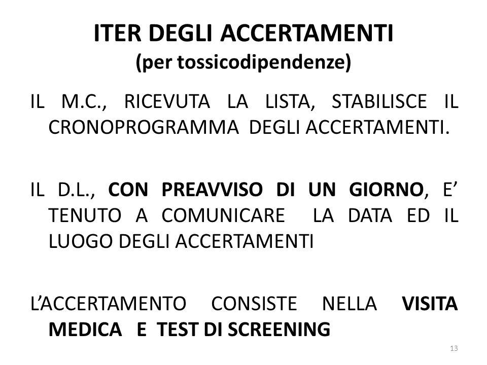 ITER DEGLI ACCERTAMENTI (per tossicodipendenze)