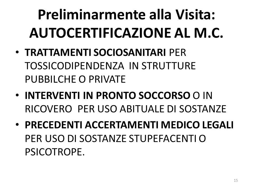 Preliminarmente alla Visita: AUTOCERTIFICAZIONE AL M.C.