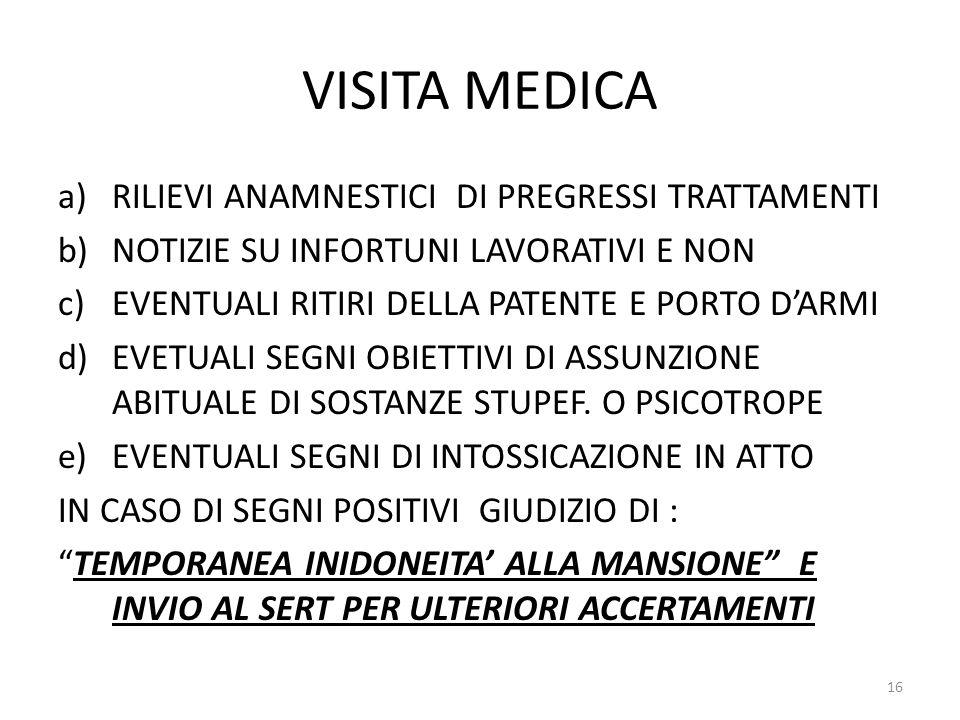 VISITA MEDICA RILIEVI ANAMNESTICI DI PREGRESSI TRATTAMENTI