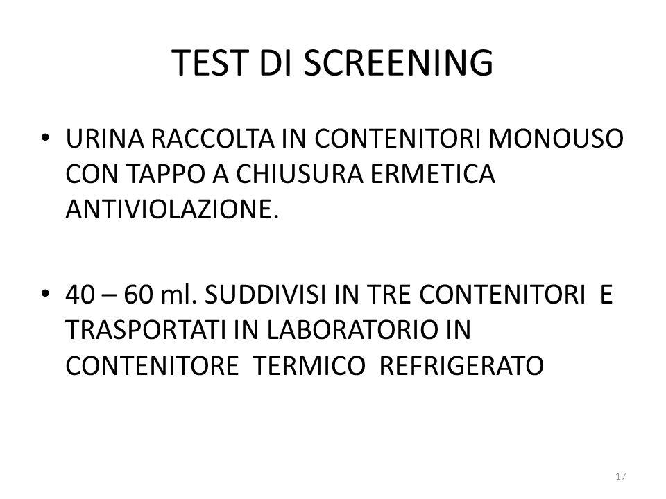 TEST DI SCREENING URINA RACCOLTA IN CONTENITORI MONOUSO CON TAPPO A CHIUSURA ERMETICA ANTIVIOLAZIONE.