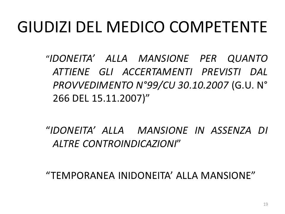 GIUDIZI DEL MEDICO COMPETENTE