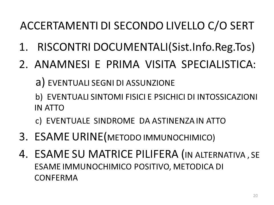 ACCERTAMENTI DI SECONDO LIVELLO C/O SERT