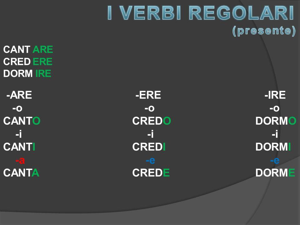 I VERBI REGOLARI (presente) -ARE -ERE -IRE -o -o -o CANTO CREDO DORMO