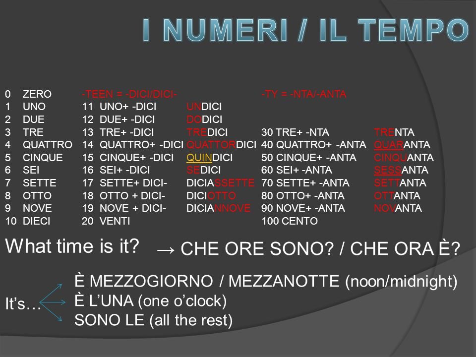 I NUMERI / IL TEMPO What time is it → CHE ORE SONO / CHE ORA È