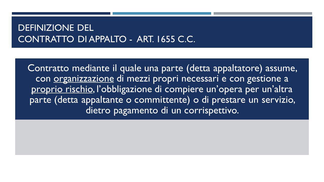 Definizione del contratto di appalto - art. 1655 c.c.