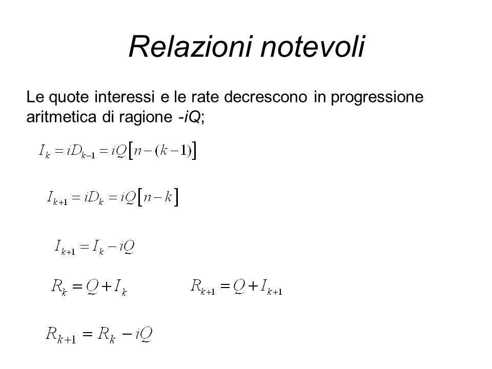 Relazioni notevoli Le quote interessi e le rate decrescono in progressione aritmetica di ragione -iQ;