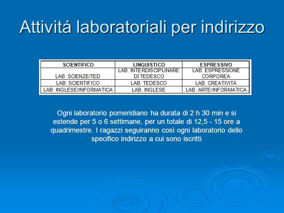 Attivitá laboratoriali per indirizzo