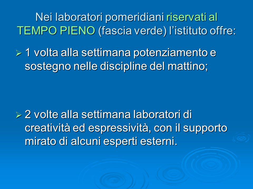 Nei laboratori pomeridiani riservati al TEMPO PIENO (fascia verde) l'istituto offre: