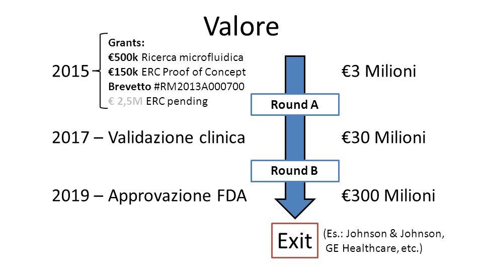 Valore Exit 2015 €3 Milioni 2017 – Validazione clinica €30 Milioni