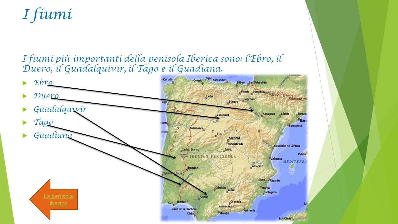I fiumi I fiumi più importanti della penisola Iberica sono: l'Ebro, il Duero, il Guadalquivir, il Tago e il Guadiana.