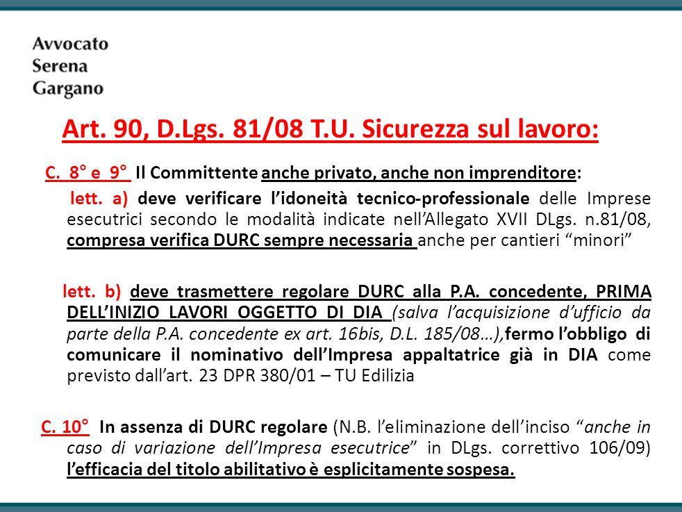 Art. 90, D.Lgs. 81/08 T.U. Sicurezza sul lavoro: