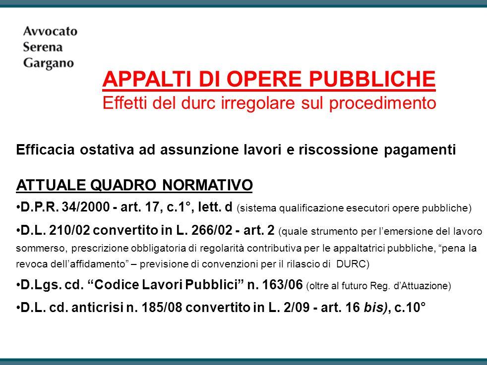 APPALTI DI OPERE PUBBLICHE