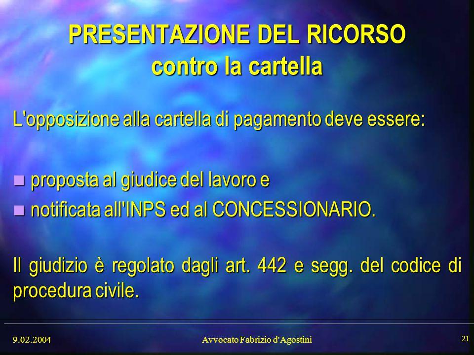 PRESENTAZIONE DEL RICORSO contro la cartella