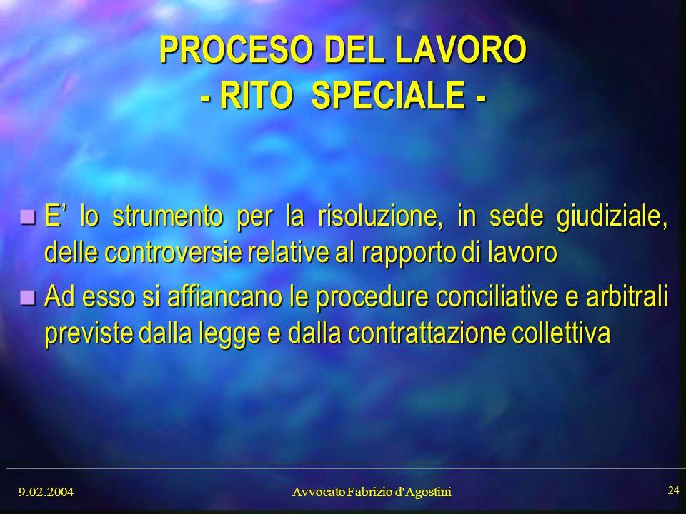 PROCESO DEL LAVORO - RITO SPECIALE -