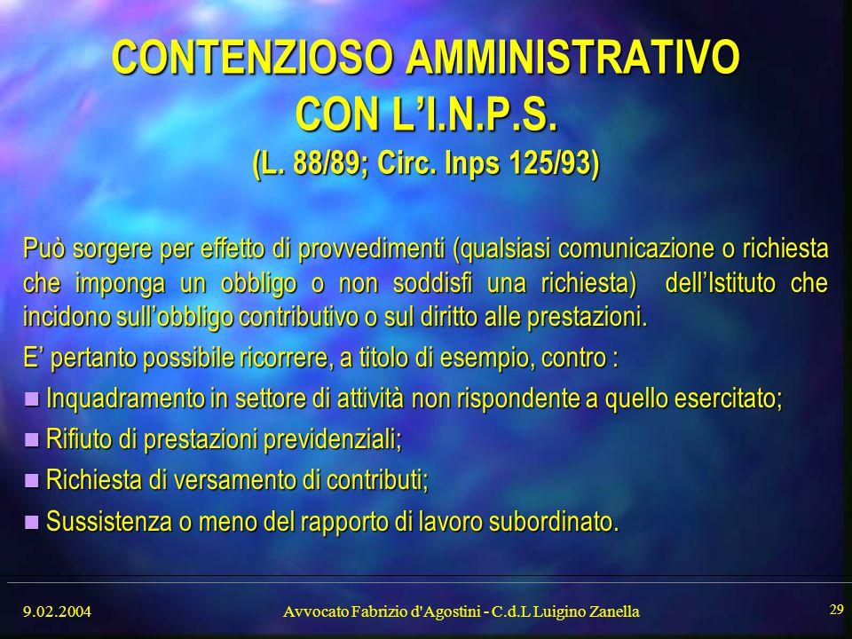 Avvocato Fabrizio d Agostini - C.d.L Luigino Zanella