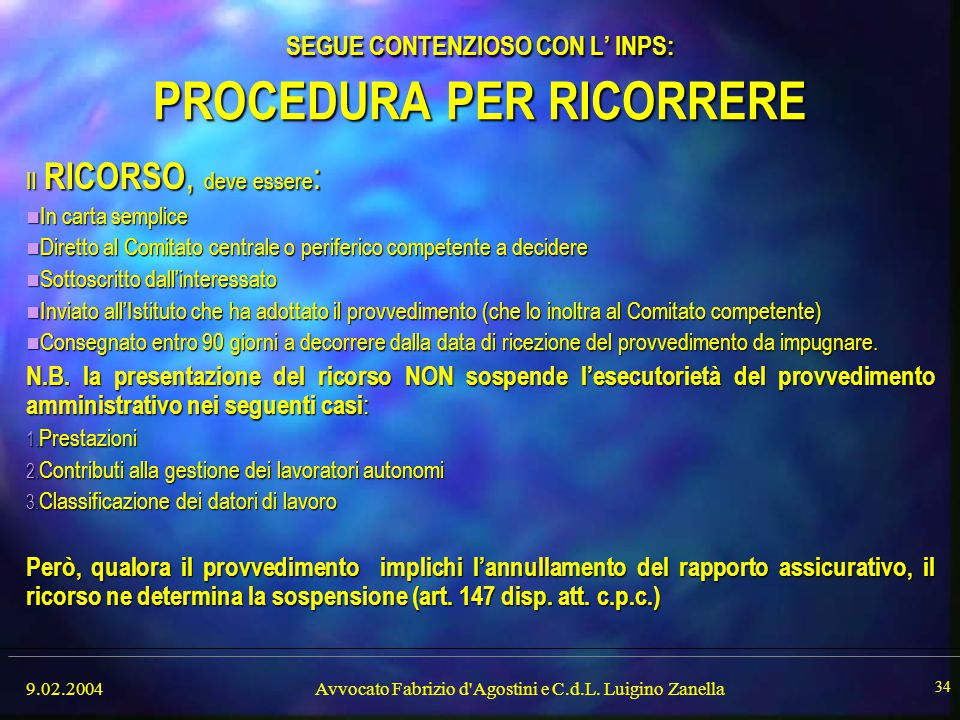 SEGUE CONTENZIOSO CON L' INPS: PROCEDURA PER RICORRERE