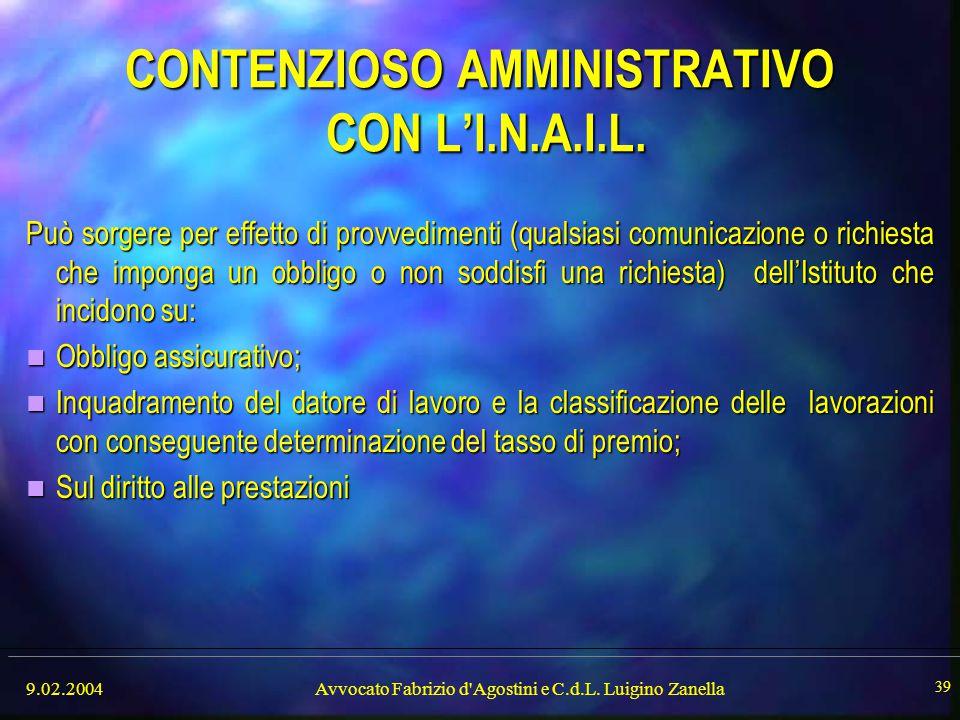 CONTENZIOSO AMMINISTRATIVO CON L'I.N.A.I.L.