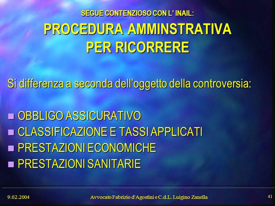 SEGUE CONTENZIOSO CON L' INAIL: PROCEDURA AMMINSTRATIVA PER RICORRERE