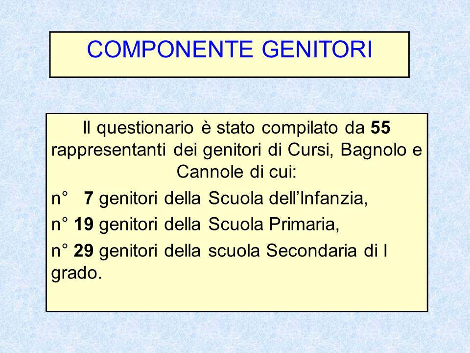 COMPONENTE GENITORI Il questionario è stato compilato da 55 rappresentanti dei genitori di Cursi, Bagnolo e Cannole di cui: