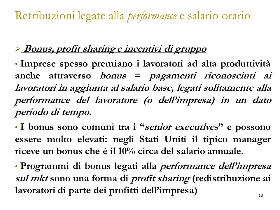 Retribuzioni legate alla performance e salario orario
