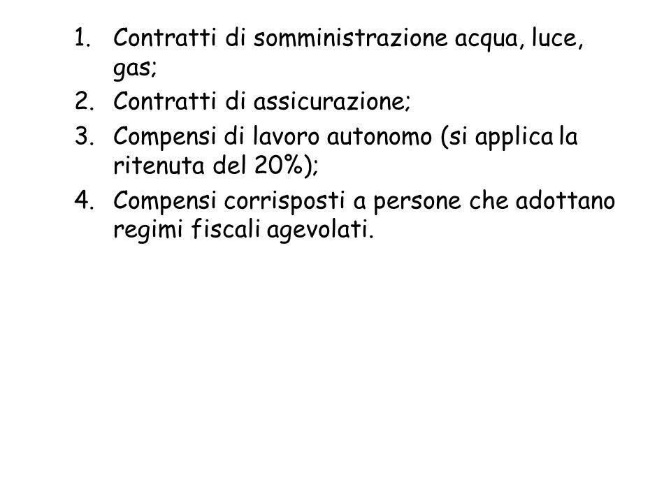 Contratti di somministrazione acqua, luce, gas;