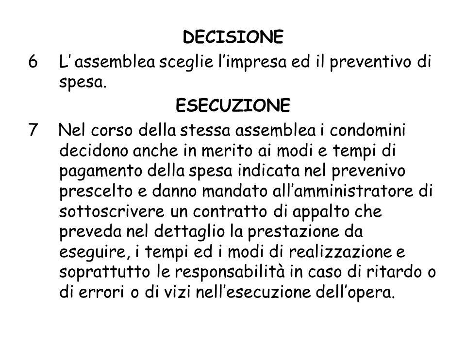 DECISIONE L' assemblea sceglie l'impresa ed il preventivo di spesa. ESECUZIONE.