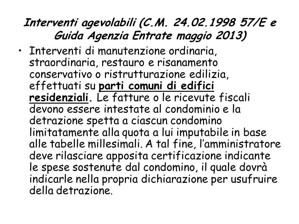 Interventi agevolabili (C. M. 24. 02