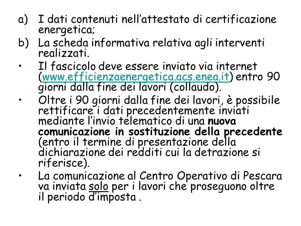 I dati contenuti nell'attestato di certificazione energetica;