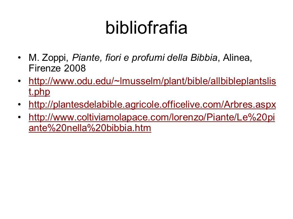 bibliofrafia M. Zoppi, Piante, fiori e profumi della Bibbia, Alinea, Firenze 2008. http://www.odu.edu/~lmusselm/plant/bible/allbibleplantslist.php.