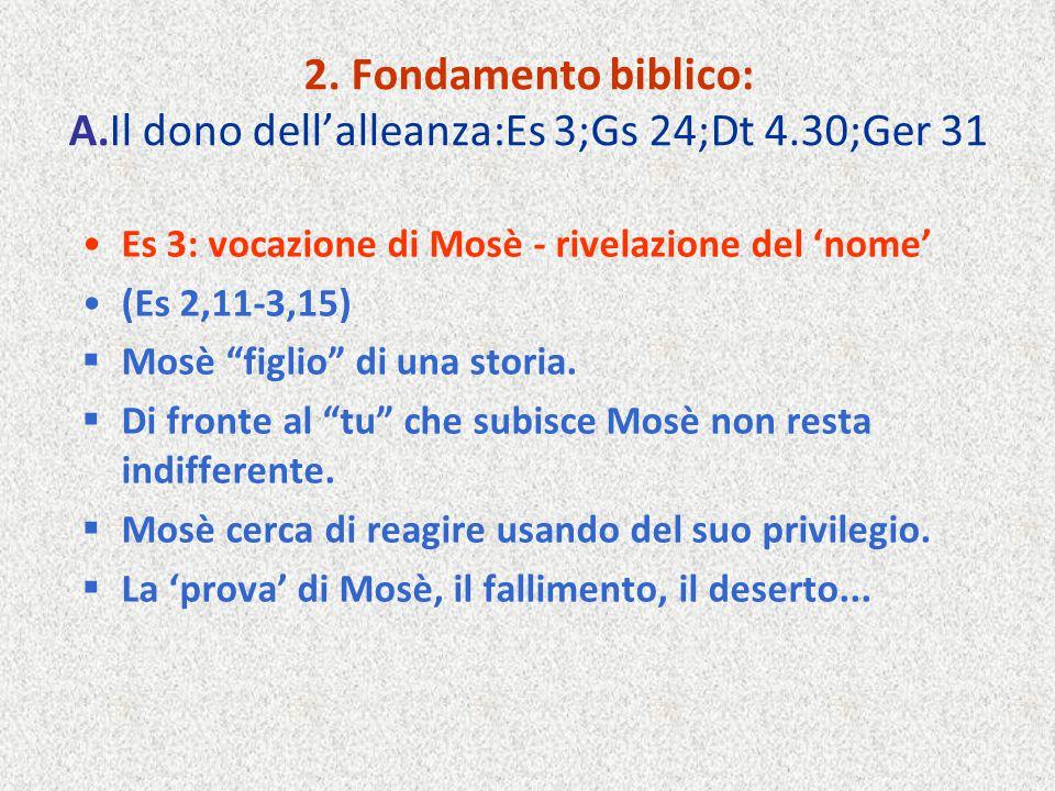 2. Fondamento biblico: A. Il dono dell'alleanza:Es 3;Gs 24;Dt 4